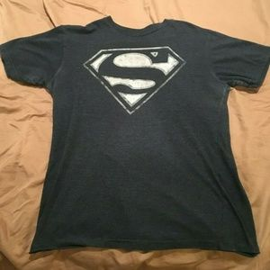 Mens Superman Logo Design Navy Blue T-Shirt